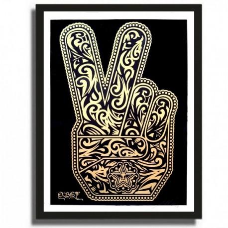 Shepard FAIREY - PEACE FINGERS (Gold)