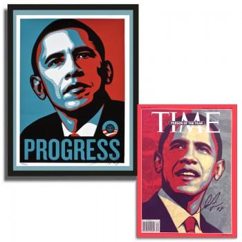 Shepard FAIREY - Obama PROGRESS + Magazine TIME