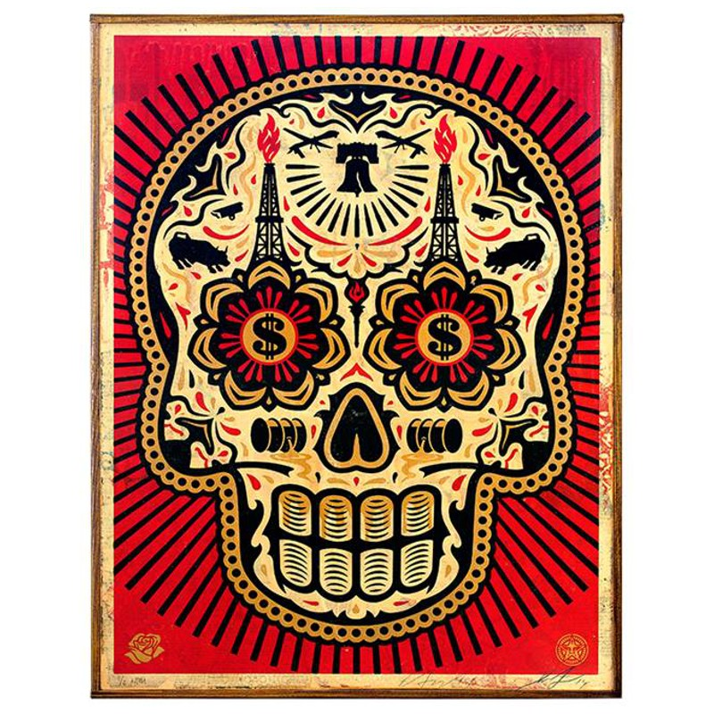 Shepard Fairey Power Amp Glory Day Of The Dead Skull