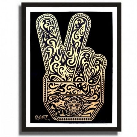 Shepard FAIREY - PEACE FINGERS (Gold)