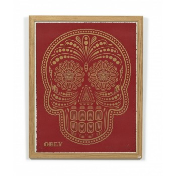 Shepard FAIREY - POWER & GLORY DAY OF THE DEAD SKULL (HPM - red and gold)